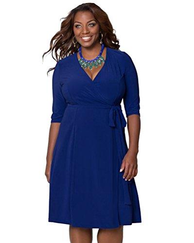 Moollyfox Femme Loisir Vrac Élastique Grande Taille Solide Couleur Robes Marine