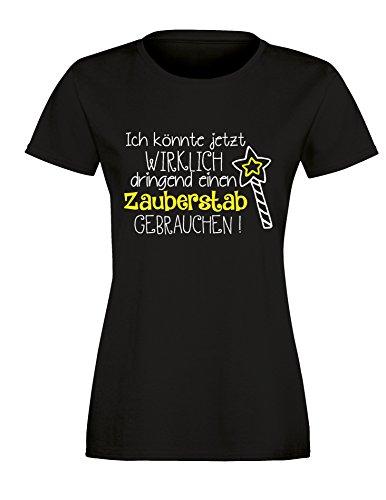 Ich könnte wirklich dringend einen Zauberstab gebrauchen - Prinzessinnen Motiv - Damen Rundhals T-Shirt Schwarz/Weiss-neongelb
