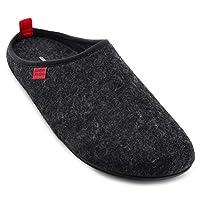Andres Machado Unisex Black Felt & Wool Slippers, Size UK 8 / EU 42