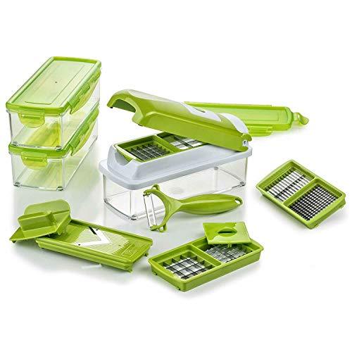 Genius Nicer Dicer Smart | 14 Teile | Gemüseschneider | Allesschneider | Zwiebelschneider | zerkleinern Farbe Kiwi