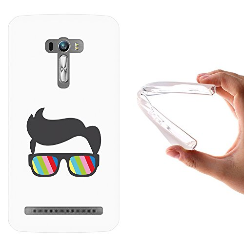 WoowCase Asus Zenfone Selfie ZD551KL Hülle, Handyhülle Silikon für [ Asus Zenfone Selfie ZD551KL ] Sonnenbrille und Nerd Stil Handytasche Handy Cover Case Schutzhülle Flexible TPU - Transparent
