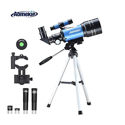 Aomekie Astronomisches Teleskop 70/300 Fernrohr Teleskop Kinder Einsteiger mit Smartphone Adapter Aluminium Stativ Barlow und Umkehrlinse um Himmelsbeobachtung und Landschaftsbeobachtung