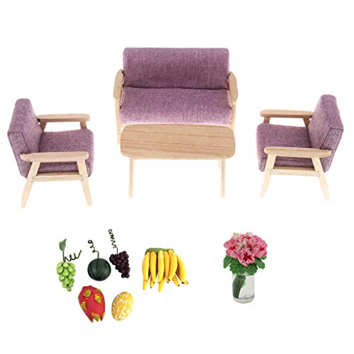 Price comparison product image P Prettyia Dollhouse Mini Furniture Living Room Accs Sofa,  End Table Set and Fruits Supplies