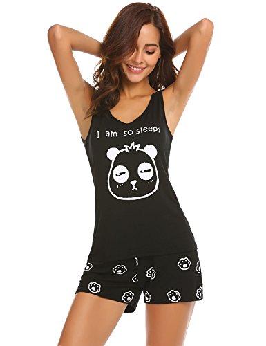 Unibelle pigiama due pezzi stampa pigiami estivi donna collo a u vestaglia ragazza senza maniche con pantalocini nero m