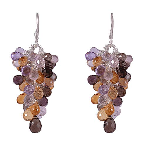 b0e2c49beb42c Ratnagarbha Sterling Silver Handmade Grape Bunch Style Drop Earrings with  Citrine, Amethyst, Smoky Quartz, Rose Quartz Gemstone