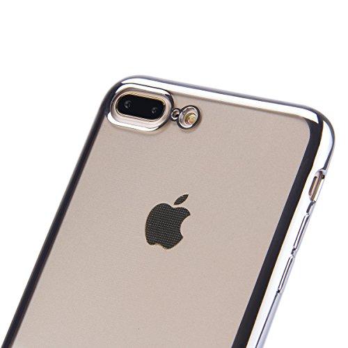 iPhone 7 Plus Hülle,iPhone 7 Plus Silikon Schutz Handy Hülle Kratzfeste Rose Gold Tasche Handyhülle [Mit 1 X Frei Stylus Stift],SainCat iPhone 7Plus Gel Case Weiche Glitzer Bling Diamant Schutzhülle m Überzug-Silber