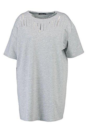 Damen Grau Plus Kerry Kleid Aus Sweatshirt-stoff Mit Kette Und Geschlitzter Vorderseite Grau