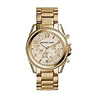Michael Kors Dress Watch Analog Display Quartz For Women Mk5166, Gold Band, Chronograph Display