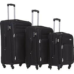 BEIBYE 8005con 4ruedas. Juego de equipaje en 6 colores., negro