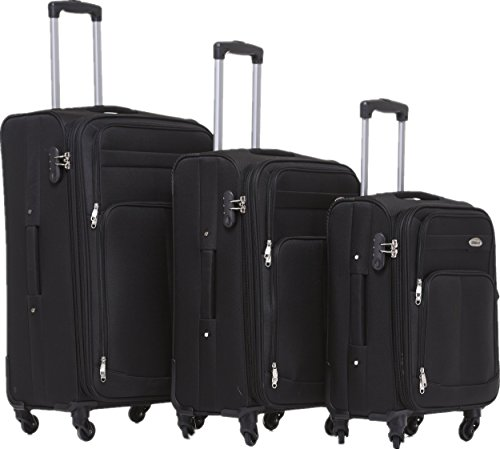 BEIBYE 4 Rollen Reisekoffer 3tlg.Stoffkoffer Gepäck Koffer Trolley Set-XL-L-M in 7 Farben (Schwarz, Set)