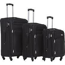 Maleta de viaje BEIBYE 8005con 4ruedas. Juego de equipaje en 6 colores., negro