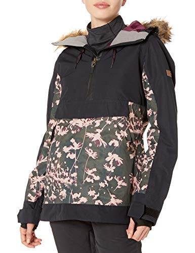 Roxy Damen Shelter Jacket Anorak, True Black Poppy, Groß