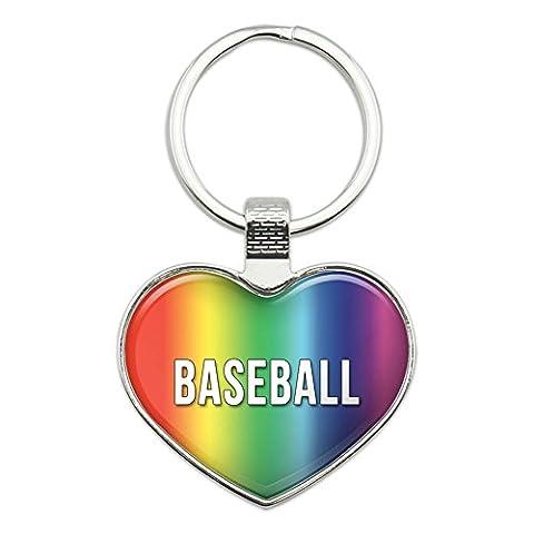 Metal Keychain Key Chain Ring Rainbow I Love Heart Sports Hobbies A-B - Baseball