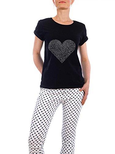"""Design T-Shirt Frauen Earth Positive """"FRAGMENTS OF YOUR LOVE"""" - stylisches Shirt Geometrie Liebe von Aaren Grey Schwarz"""