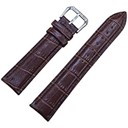 22mm Brown Soft Genuine Leather Alligator Grain Watch Band Strap Calf Watchband Pin Buckle