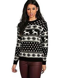Rentier Schneeflocken Weihnachten Pullover für Frauen Pullover (SNOE Flakes Black, S)