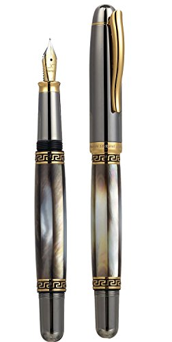 Cheap Xezo Tahitian Black Mother of Pearl, Tungsten Metallic Finish Medium Fountain Pen Special
