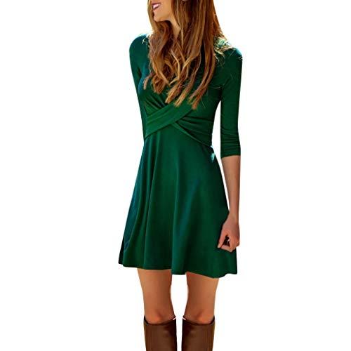 Beikoard Damen Wickelkleid Einfarbig Punkte Sexy Cross Front V-Ausschnitt Minikleid Casual Slim Taille Kleid Elegant Bodycon-Kleid