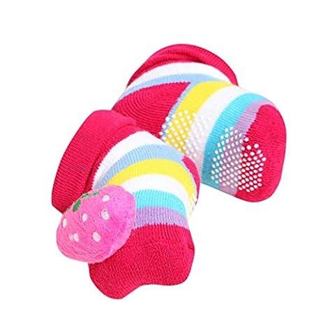 Baby Socken/ Transer® Unisex Mädchen/Jungen Kleinkind Neugeborene Kinder Dimensional Design Karikatur Erdbeere Panda Küken Schuhe Stiefel für 0-12 Monate (Gestreifte Verbandsmull)