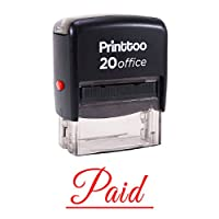 Printtoo PAID Self Inking Rubber Stamp Office Stationary Custom Stamp-Red