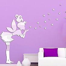 2017 nuevo! Adhesivos de pared arte brillante sexy girl pegatinas 3D hermoso espejo de pared acrílico Angel & Star decoracion,50cm 93cm