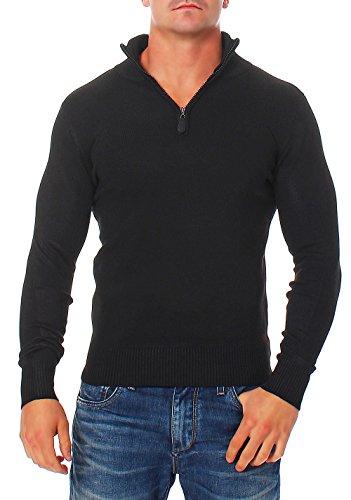malito Maglione Cachemire Sweater Sweatshirt V-Neck Gilet Giacca Oversize Cardigan Casual SL200 Uomo (XXL, nero)