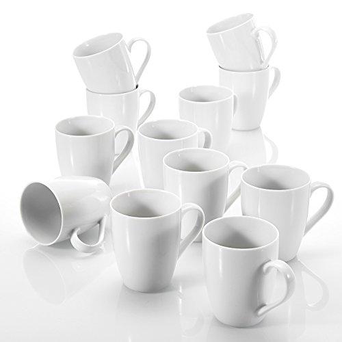 Malacasa ELISA 12pcs Mugs Tasse à Thé Café Capuccino 360ML 8,5*10cm en Porcelaine Blanc Ivoire