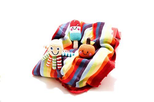 Coffret cadeau pour nouveau-né comprenant une couverture bébé, un hochet pieuvre et un hochet orange