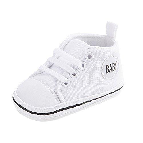 wyhweilong Nette Baby-Segeltuch-Turnschuh-Rutschfeste Weiche Trainer-Schuhe 0-18M (M: 6-12 Monate, Milky)