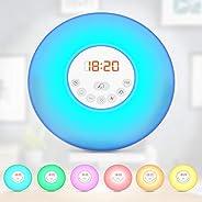 B.K.Licht LED Weklampe- Wake-up Light- Lichtwekker - Radiowekker - FM-radio digitaal - Kinderwekker Meisjes-Bo