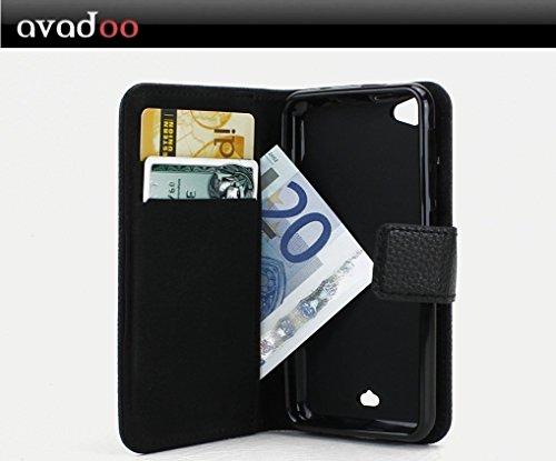 avadoo® Wiko Jimmy Flip Case Cover Tasche Schwarz mit Magnetverschluss und Dualnaht als Cover Tasche Hülle