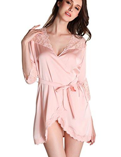 nachthemd damen kurze Kimono Robe Morgenmantel mit Spitze Frauen Nachtwäsche (Lange Spitze Robe)