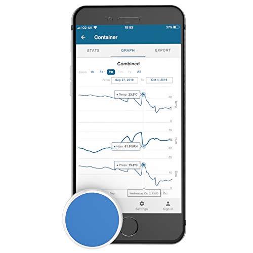 TEMPO DISC TM Bluetooth-Funkthermometer, Hygrometer und Taupunktsensor mit Beacon und Datenlogger. Fernüberwachung für Temperatur, Luftfeuchtigkeit und Taupunkt. Für iOS und Android.