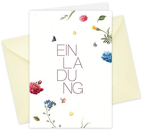 20 Karten & 20 Umschläge: Klappkarten Einladungskarten - Blüten - DIN A6 im Set, Einladung zur Hochzeit, Taufe, Geburtstag, Konfirmation, Kommunion, Jubiläum