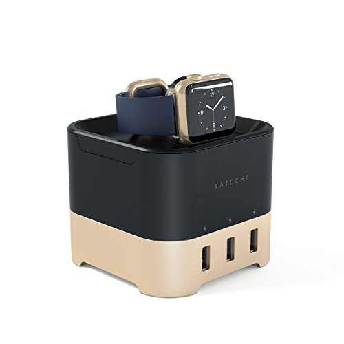 Satechi base di ricarica intelligente - stazione di ricarica 2 in 1 fitbit blaze stand di ricarica con 4 porte usb supporto per cellulari, apple watch 1, 2 e 3, iphone x, 8 plus, 8 e altri (oro)