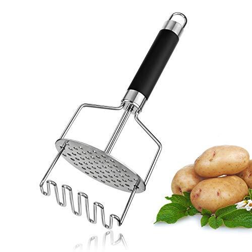 Joyoldelf Kartoffelstampfer,Gemüsestampfer aus Edelstah -Kartoffelpresse für Kartoffelpüree,Gemüse und Früchte,doppelpresse Wirkung durch eingebaute Feder