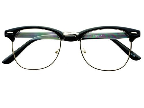 geek-nerd-retro-vintage-style-clear-lens-half-frame-clubmaster-wayfarer-eye-glasses-frames-black-sil