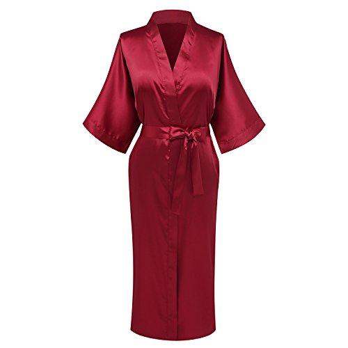 WitBuy Women's Pure Color Silk Sleepwear Nightwear Kimono Robe,Bridesmaid Long Style - 412JiMbtQzL - WitBuy Women's Pure Color Silk Sleepwear Nightwear Kimono Robe,Bridesmaid Long Style