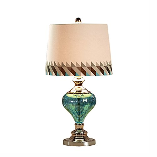 QIN PING GUO Lampe de table, lampe de table en verre bleu, lit ( Couleur : Bouton )