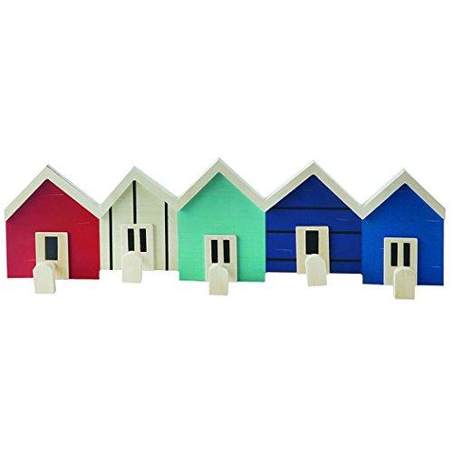 Wandgarderobe / Garderobenleiste Strandhütten mit 5 Haken