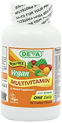 Deva Vegan Vitamins Vegan, Multivitamin & Mineral Supplement, Iron Free, Vegan, 90 Coated Tablets by Deva Nutrition