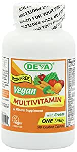 Deva Vegan Vitamins Vegan, Multivitamin & Mineral Supplement, Iron Free, Vegan, 90 Coated Tablets
