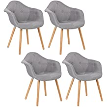WOLTUR Lot De 4 Chaises Salle Manger Design Moderne Loisirs En Lin