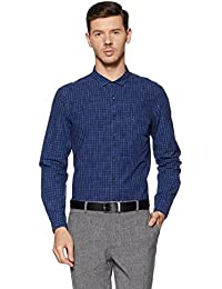 Indigo Nation Men's Checkered Slim Fit Cotton Formal Shirt