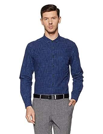 Indigo Nation Men's Checkered Slim Fit Cotton Formal Shirt (ISF601_Navy Checks_40)