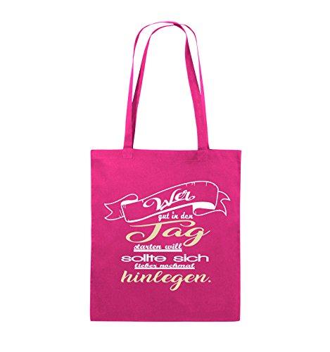 Comedy Bags - Wer gut in den Tag starten will sollte sich lieber nochmal hinlegen - Jutebeutel - lange Henkel - 38x42cm - Farbe: Schwarz / Weiss-Neongrün Pink / Rosa-Weiss-Beige