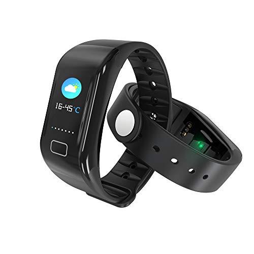MIJNUX Touch Screen Braccialetto Intelligente, Fitness Tracker Activity Monitor di frequenza cardiaca Impermeabile Fotografia in remoto Meteo Infos spingendo SmartWatch,Black