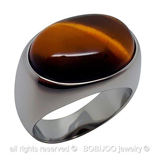 BOBIJOO Jewelry - Bague Chevalière Oeil de Tigre Acier Inoxydable Homme Femme - 58 (8 US), Argenté Argenté
