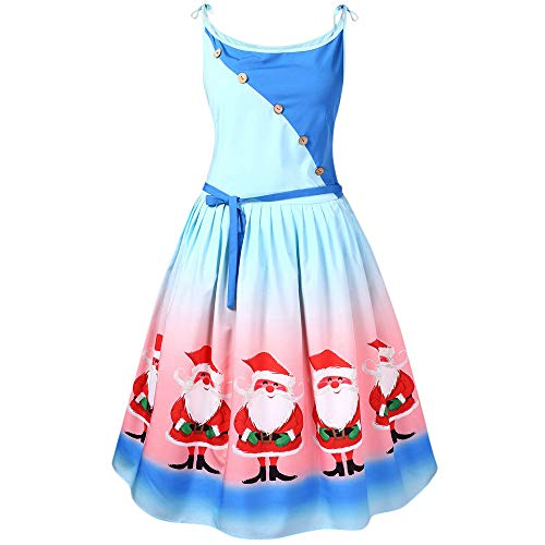 Yvelands Kleider, Damen Weihnachtsfrauen Sleeveless Spitze Patchwork Druckweinlese Kleid Partei Kleid(EU-48/L5,Blau)