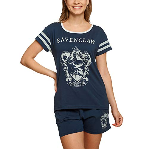 HARRY POTTER Señoras Pijama Ravenclaw Crest Short Elven Forest Cotton Blue - XS